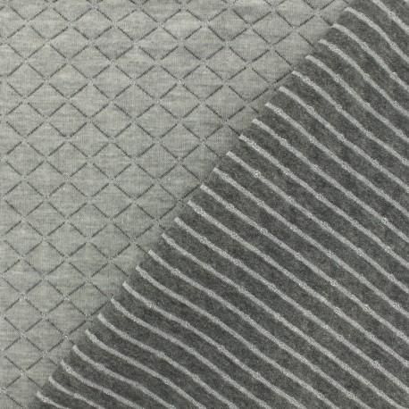 Tissu jersey matelassé réversible The shining - argent x 10cm