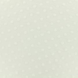 Tissu Oeko-Tex jersey pois velours - blanc x 10cm
