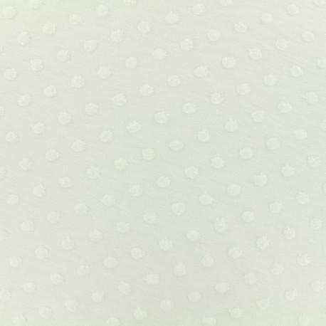Oeko-Tex Dots Flocked velvet jersey fabric - white x 10cm
