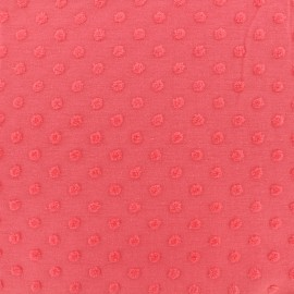 Oeko-Tex Dots Flocked velvet jersey fabric - strawberry x 10cm