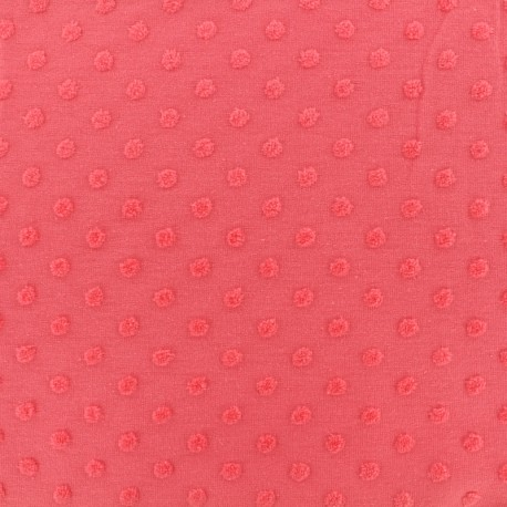 Oeko-Tex Dots Flocked velvet jersey fabric - strawberry x 10cm