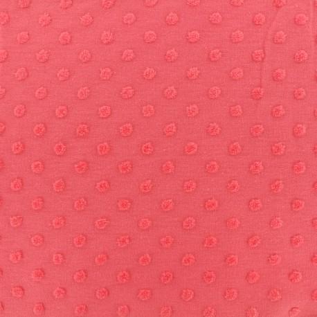 Tissu Oeko-Tex jersey pois velours - fraise x 10cm
