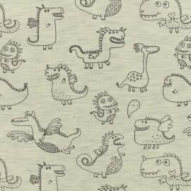 Tissu Oeko-Tex jersey Poppy Cute dragons - ecru chiné x 10cm