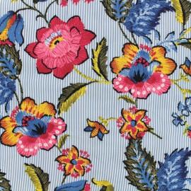 Tissu viscose Striped bloom - bleu x 10 cm