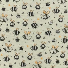 Tissu Oeko-Tex jersey Poppy Bee life - ecru chiné x 10cm