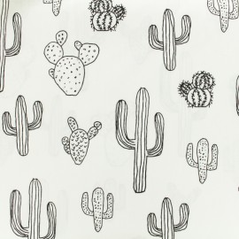 Tissu coton à colorier Cactus - noir/blanc x 10cm