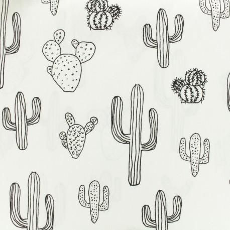 Tissu coton colorier cactus noir blanc x 10cm - Cactus coloriage ...