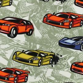 Oeko-Tex light sweat designed by Poppy Racing cars - khaki color x 15cm