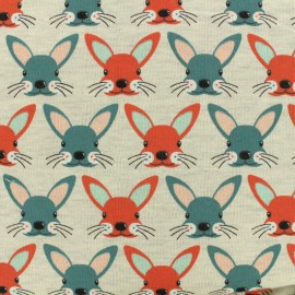 Tissu Oeko-Tex sweat Poppy Bunnies - orange x 10cm