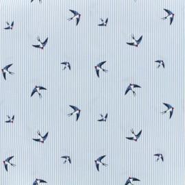 Tissu coton popeline Sparrows - bleu x 10cm