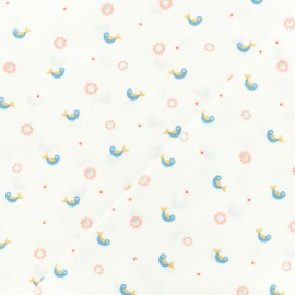 Tissu coton popeline Cheerful bird - blanc x 10cm