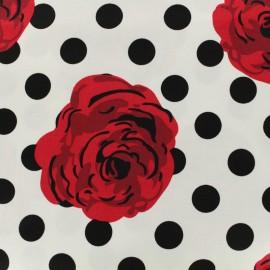 Printed cotton fabric Vintage rose white dots - black x 20cm