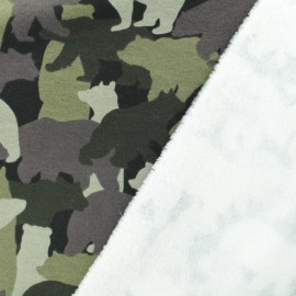 Sweat with minkee reverse side Blending in the forest - military x 34cm