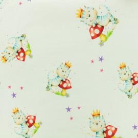 Cotton jersey fabric Mushroom cat - white x 10cm