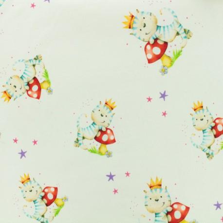 Tissu Jersey Chat champignon - lanc x 10cm