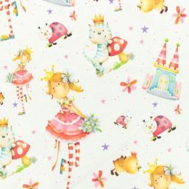 Tissu Jersey Princesse et chat champignon - blanc x 10cm