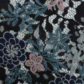 Tissu dentelle brodée Blue Hydrangea - noir x 10cm