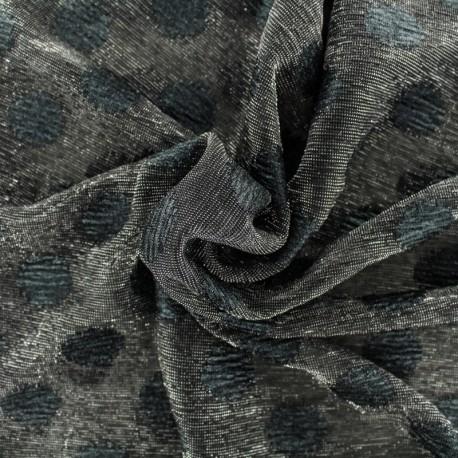Tulle souple irisé pois noir - noir x10cm