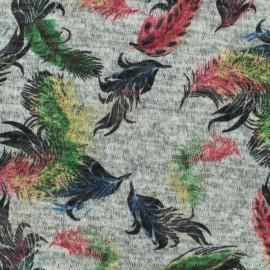 Tissu Maille légère Plumes - multi/gris x 10cm