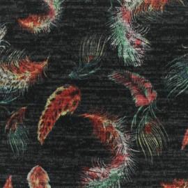 Tissu Maille légère Plumes - multi/noir x 10cm
