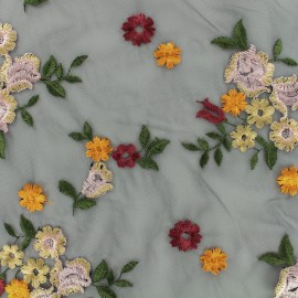 Organza fabric embroidered capuchin - black x 10 cm