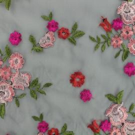 Organza fabric embroidered cosmos - black x 10 cm