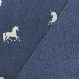Tissu Softshell Unicorn Denim - bleu x 10cm