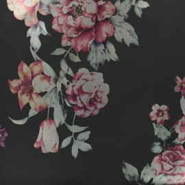 Tissu Softshell Chic Flower - noir x 10cm