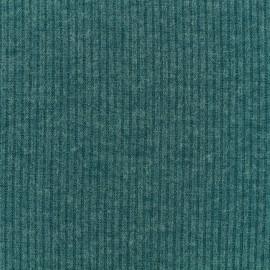 Tissu Maille légère a côtes - petrol x 10cm