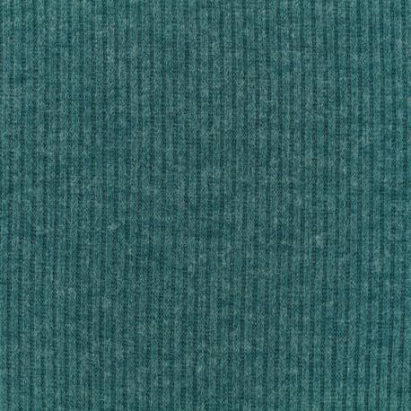 Tissu Maille légère a côtes - beu canard x 10cm