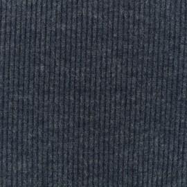 ♥ Coupon 150 cm X 170 cm ♥ Tissu Maille légère a côtes - bleu foncé