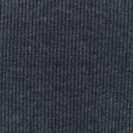 Tissu Maille légère a côtes - bleu foncé x 10cm