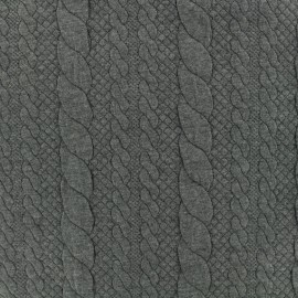 Tissu jersey maille Torsade - gris x 10cm