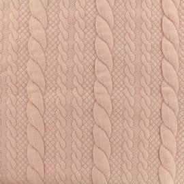 Tissu jersey maille Torsade - rose x 10cm