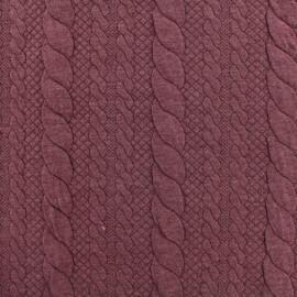 Tissu jersey maille Torsade - rouge x 10cm