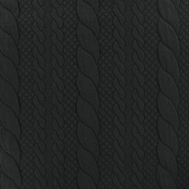 Jersey plain Torsade knitted fabric - black x 10cm