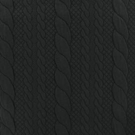 Tissu jersey maille Torsade - noir x 10cm