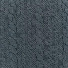 Tissu jersey maille Torsade - gris ardoise x 10cm