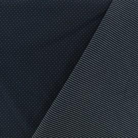 Tissu Jersey réversible Milano pois/rayures - nuit noire x 10cm