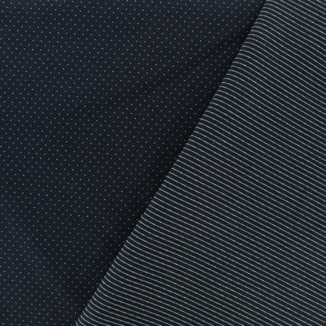 tissu jersey r versible milano pois rayures nuit noire x 10cm. Black Bedroom Furniture Sets. Home Design Ideas