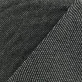 studded Milano jersey fabric reversible stripes and dots - dark grey x 10cm