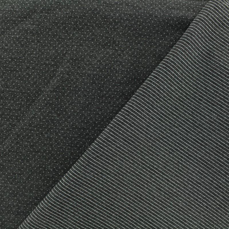 tissu jersey r versible milano pois rayures gris anthracite x 10cm. Black Bedroom Furniture Sets. Home Design Ideas