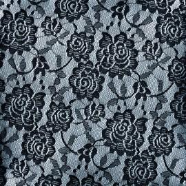 Lace Fabric rose - noir x 10cm