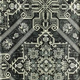 Leopard print polyester satin fabric - grey x 10cm