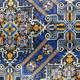 Tissu satin polyester Gatsby - bleu et orange x 10cm