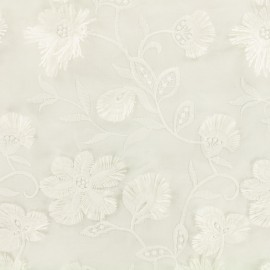 Openwork cotton fabric Wild flowers - white x 10cm