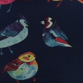 Tissu sweat léger Oiseaux - bleu marine x 10 cm