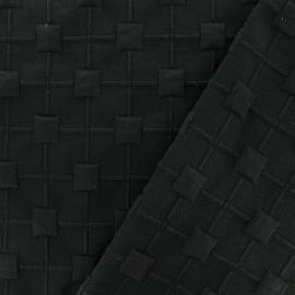 Tissu Jersey maille Cube Relief - noir x 10cm