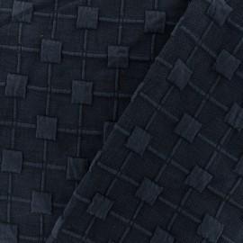 Tissu Jersey maille Cube Relief - bleu marine x 10cm