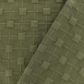 Relief cube jersey fabric - khaki x 10cm